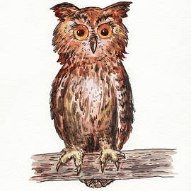 Baby Owl Watercolour For Baby Room  by Irina Sztukowski