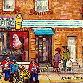 Bar Laitier Wellington Ice Cream Parlor Verdun Storefront Street Hockey Tournament C Spandau Artist by Carole Spandau