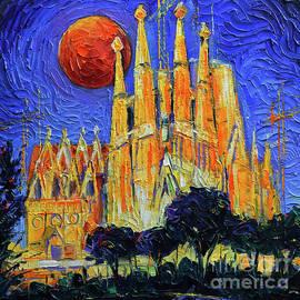 Barcelona Sagrada Familia Night Lights by Mona Edulesco