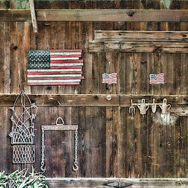 Barn Door with Flags by Sharon Popek