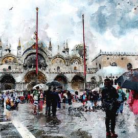 Eduardo Jose Accorinti - Basilica of Saint Mark in Venice with watercolor look