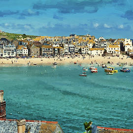 Beach From Across Bay St. Ives, Cornwall, England by Dean Wittle