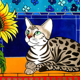 Beauty in Bloom - Savannah Cat Painting by Dora Hathazi Mendes