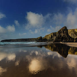 Bedruthan Steps,  Reflections Cornwall by Maggie McCall