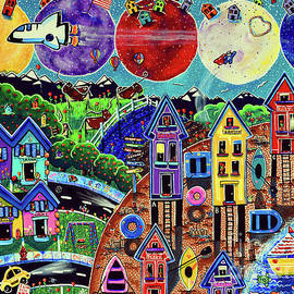 World Life Is Fun Space Shuttle Moon Planets Beach Homes Texas Longhorn Jackie Carpenter Fish Hero by Jackie Carpenter