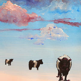 Belties Walking Through Sky With Clouds Painting by Mike Jory