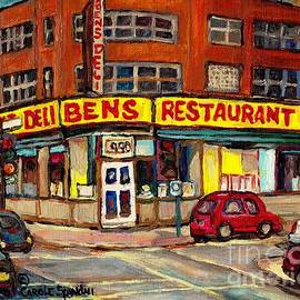 Ben's Deli Restaurant Corner De Maisonneuve Montreal Smoked Meat Landmark Street Scene Art C Spandau by Carole Spandau
