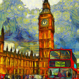 Big Ben and Bus by Jan Carr