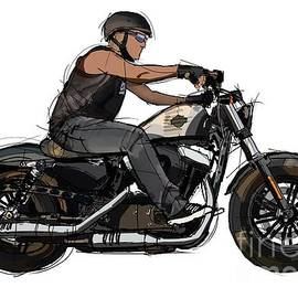 Biker and His Motorcycle. Original handmade artwork for tshirts and pillows by Drawspots Illustrations