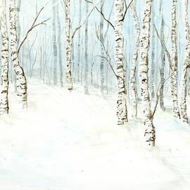 Birch Aspen Forest In Winter Snow by Audrey Jeanne Roberts