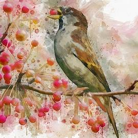 Bird Eating Cherries From A Tree Watercolor by Art Shack
