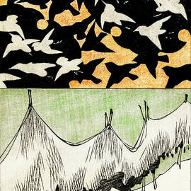 Birds and  Net - Japanese traditional pattern design
