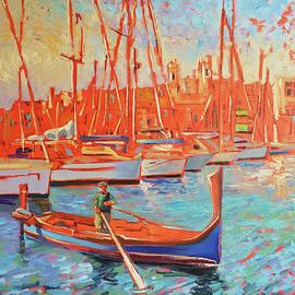Vittoriosa Birgu Malta Harbour Modern Impressionism Oil Painting  Textured by Vali Irina Ciobanu  by Vali Irina Ciobanu
