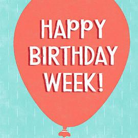 Birthday Week Red Balloon- Art By Linda Woods by Linda Woods