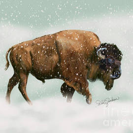Bison in Snow Storm by Dale Evelyn Jackson