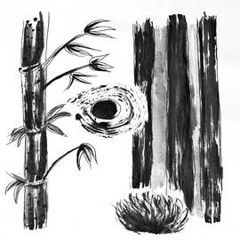 Black and White Bamboo Cane Plaint by Delynn Addams
