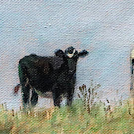 Black and White - Curious Cows on the Hillside by Bonnie Mason