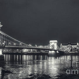 Black and White Panorama of Budapest Chain Bridge by Stefano Senise