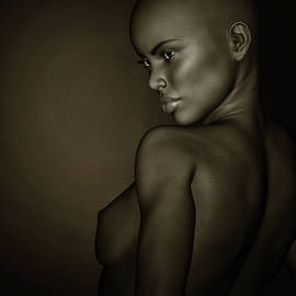 Black And White Profile Of A Nude African Girl by Jan Keteleer