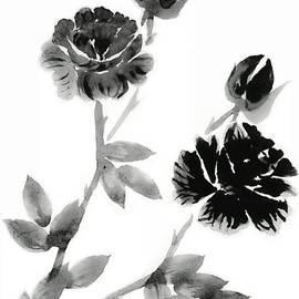 Black and White Rose Floral by Delynn Addams