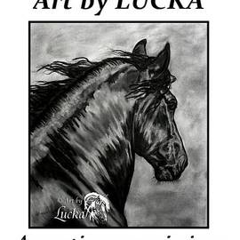 Black baroque PRE stallion Friesian by Art by Lucka