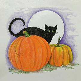 Black Cat and Pumpkins by Elizabeth Hazelet
