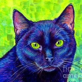 Black Cat with Chartreuse Eyes by Rebecca Wang