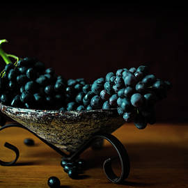 Black Grapes in Vintage Bowl by Cassi Moghan