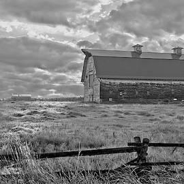 Black N White Barn And Splitrail Fence by Randall Branham