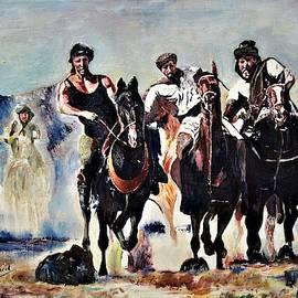 Black stallions by Khalid Saeed