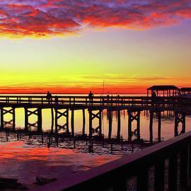 Blazing Evening At The Hilton Pier by Ola Allen
