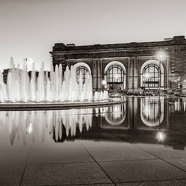 Bloch Fountain At Union Station - Downtown Kansas City Sepia by Gregory Ballos