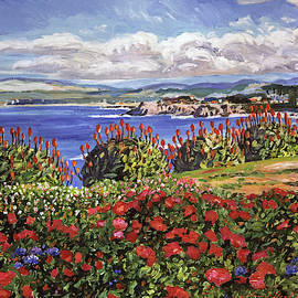 BLOOMING ALOE PACIFIC GROVE  by David Lloyd Glover