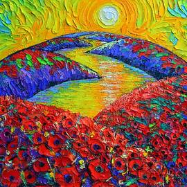 BLOOMING PLANET SUNRISE poppies abstract landscape textural knife oil painting by Ana Maria Edulescu by Ana Maria Edulescu
