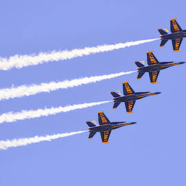 Blue Angels Diagonal Formation With Jet Streams by Brian Tada