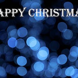 Blue Bokeh - Happy Christmas by Helen Northcott
