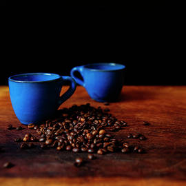 Blue Coffee Cups Square Print by Cassi Moghan