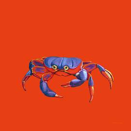 Blue Crab Orange Sand by David Arrigoni