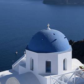 Blue Dome Church in Santorini by Lucinda Walter