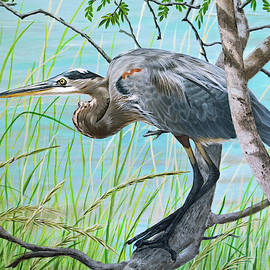 Blue Heron in the Bush by Jimmie Bartlett