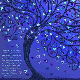 Blue Monochrome Tree With Text by Chante Moody