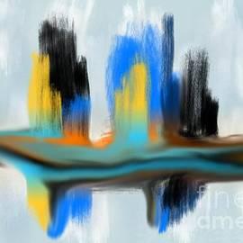 Blue Orange Black Tan Drag Abstract Digital Painting by Delynn Addams