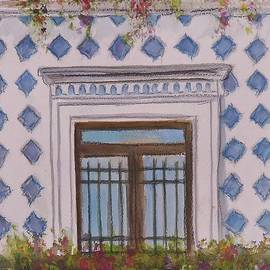 Blue Tiled Balcony Of Amalfi by Laurie Morgan