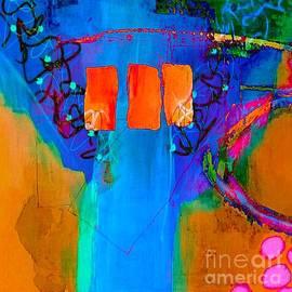 Blue Tree With Orange Windows by Terri Price