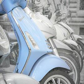 Blue Vespa Florence Italy by Joan Carroll