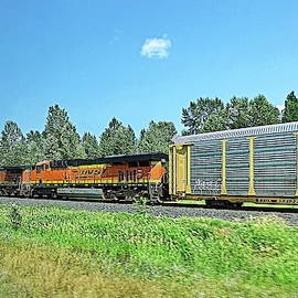 BNSF Locomotives on Montana Roads by Lyuba Filatova