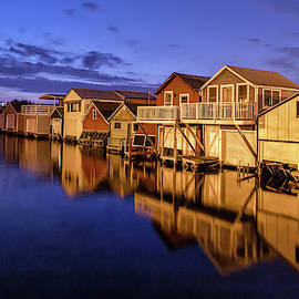 Boathouse Reflections At Night by Rod Best