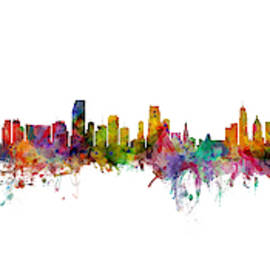Bogota, Barcelona, Miami, Cincinnati And Orlando Skylines Mashup by Michael Tompsett