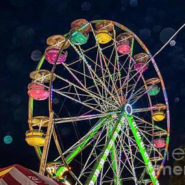 Bokeh Neon Ferris Wheel by Janice Pariza