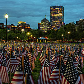 Boston Common Memorial Day Flags Dramatic Sky Boston Ma Night by Toby McGuire